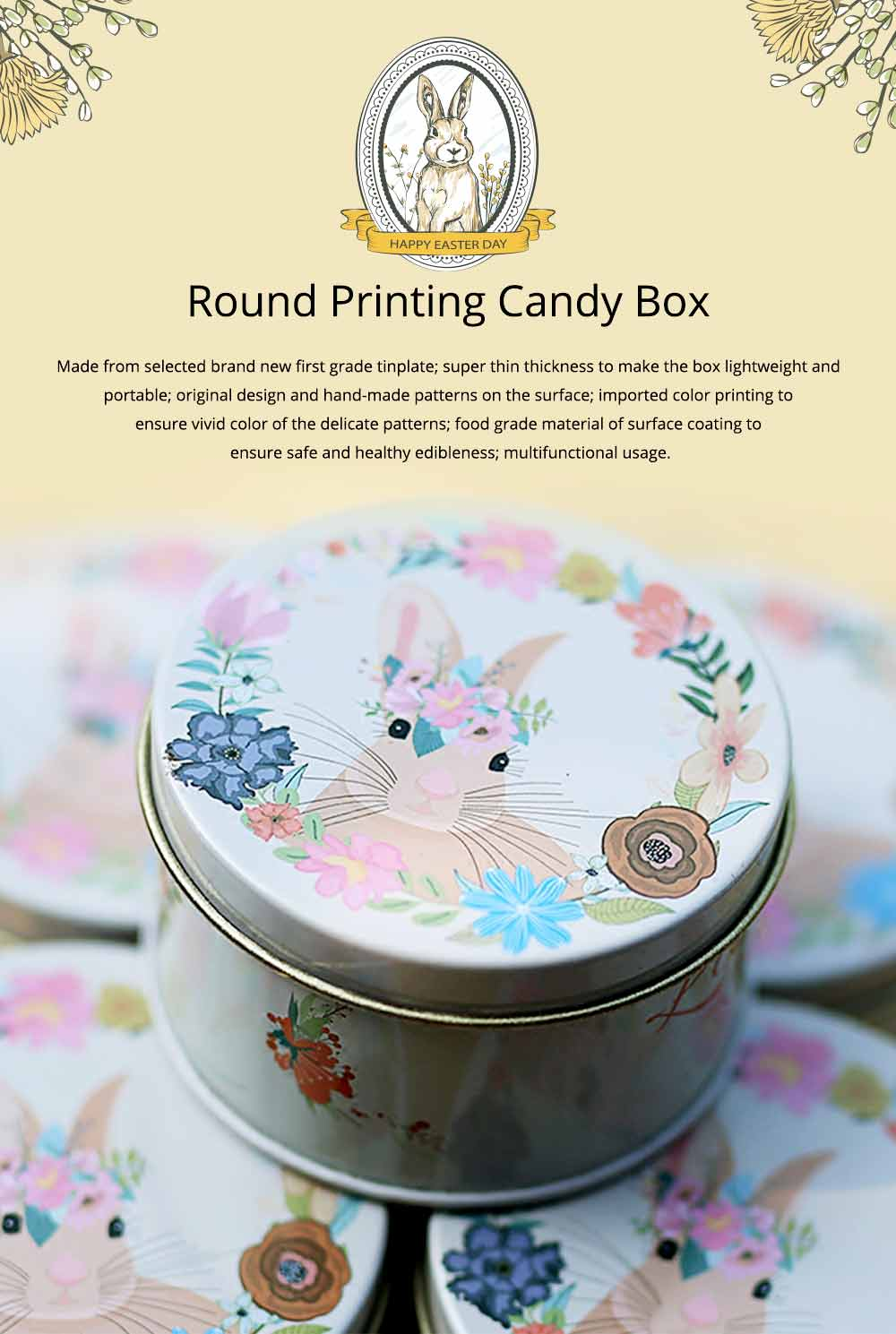 Round Tinplate Candy Box for Weddings, Creative Candy Box of Lovely Rabbit Printings Storage Box Bonbon Box Gift Box 0