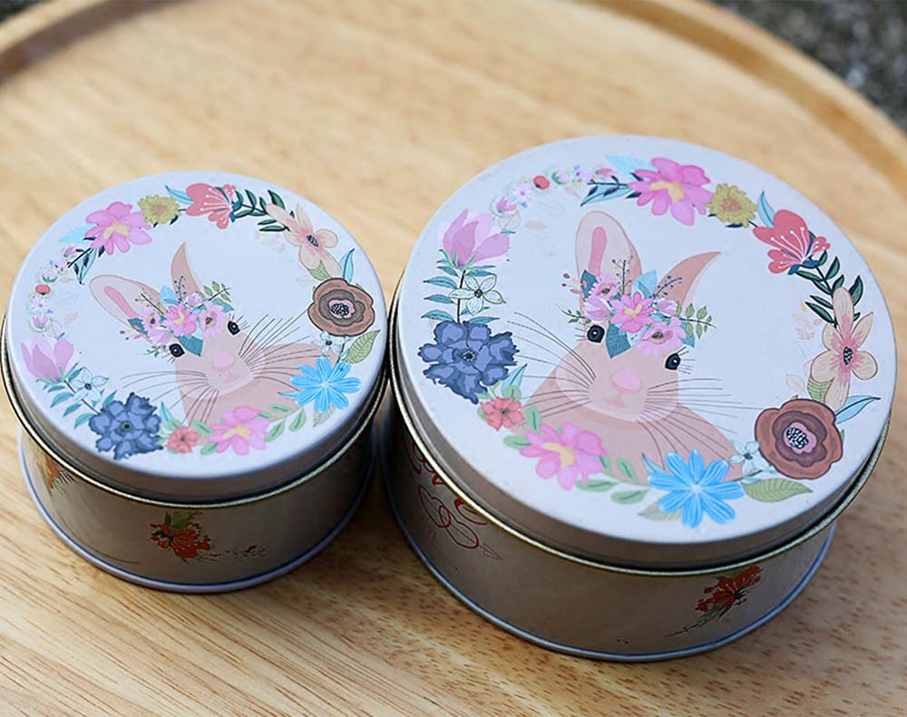 Round Tinplate Candy Box for Weddings, Creative Candy Box of Lovely Rabbit Printings Storage Box Bonbon Box Gift Box 6