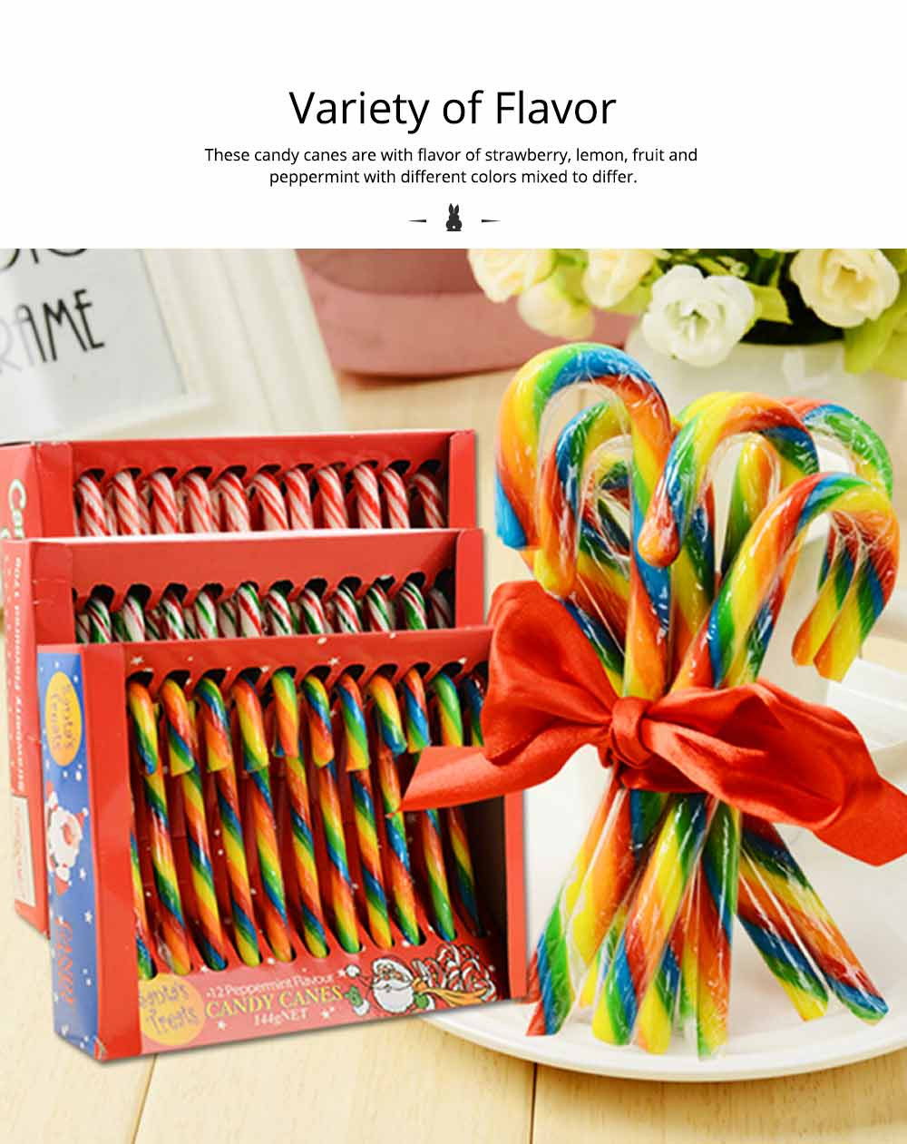 Candy Cane Gift Box for Easter Day, Rainbow Color Lollipop Creative Present Cane Candy, Multiple Taste 8