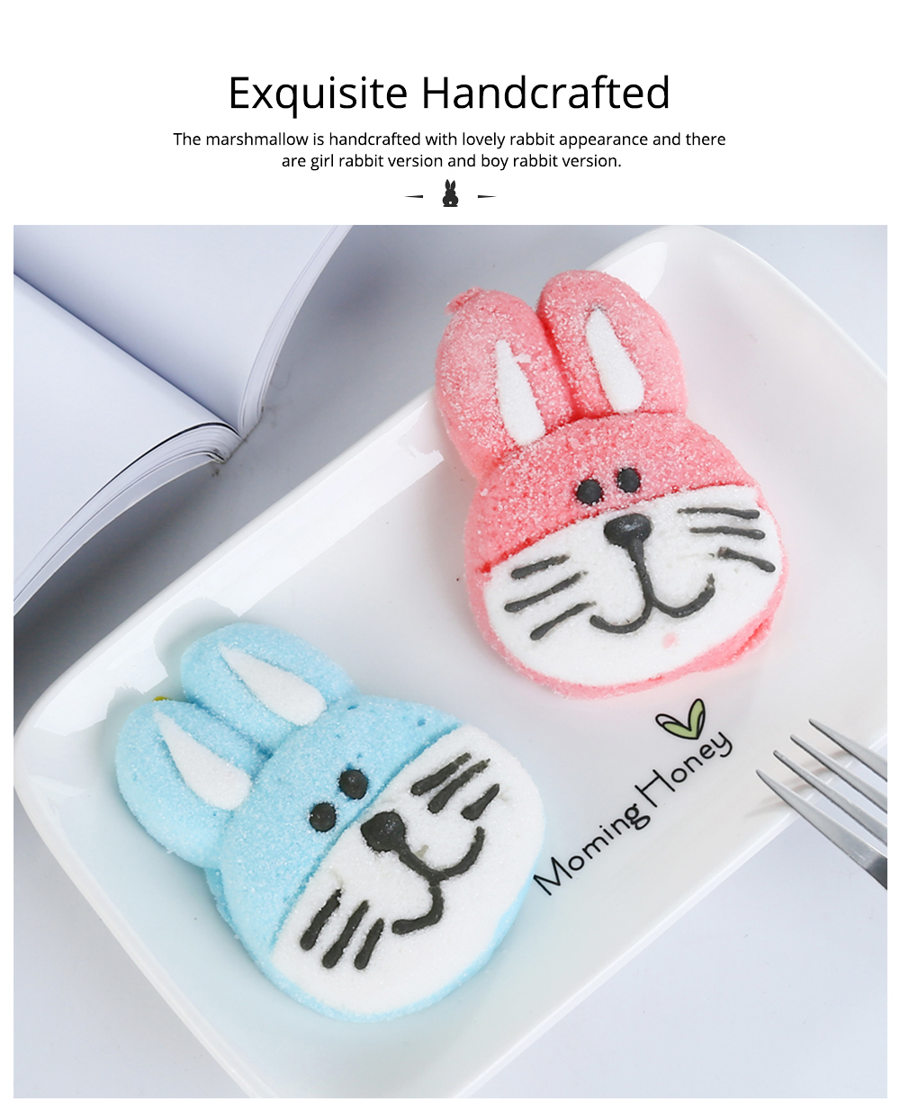 Rabbit Shape Marshmallow for Girlfriend as Birthday Gift, Creative Rabbit Cotton Candy A Pair as Present Rabbit Candy Floss 3