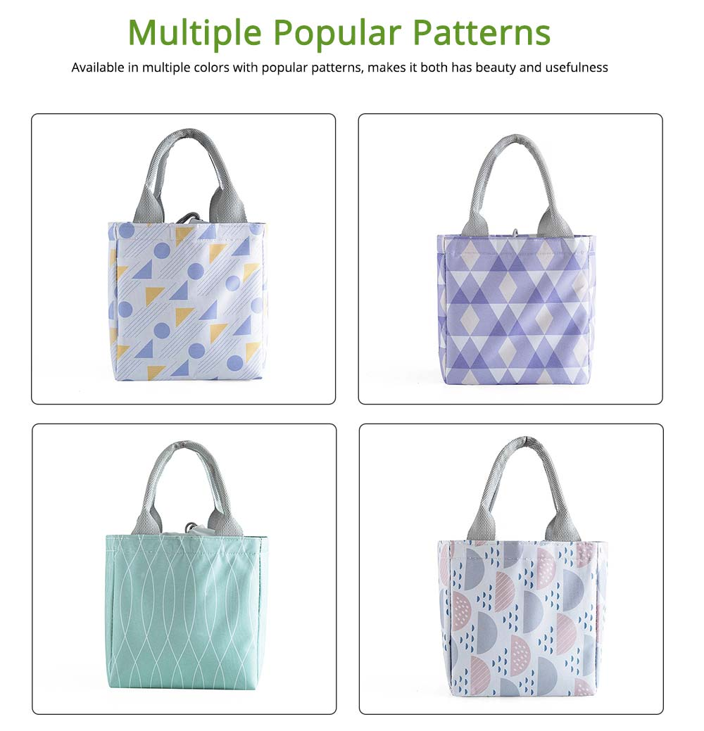 Geometric Printed Insulated Bag with Drawsting Sealing, Portable Cooler Picnic Bag for Packing Fruits, Vegetables, Foods  3