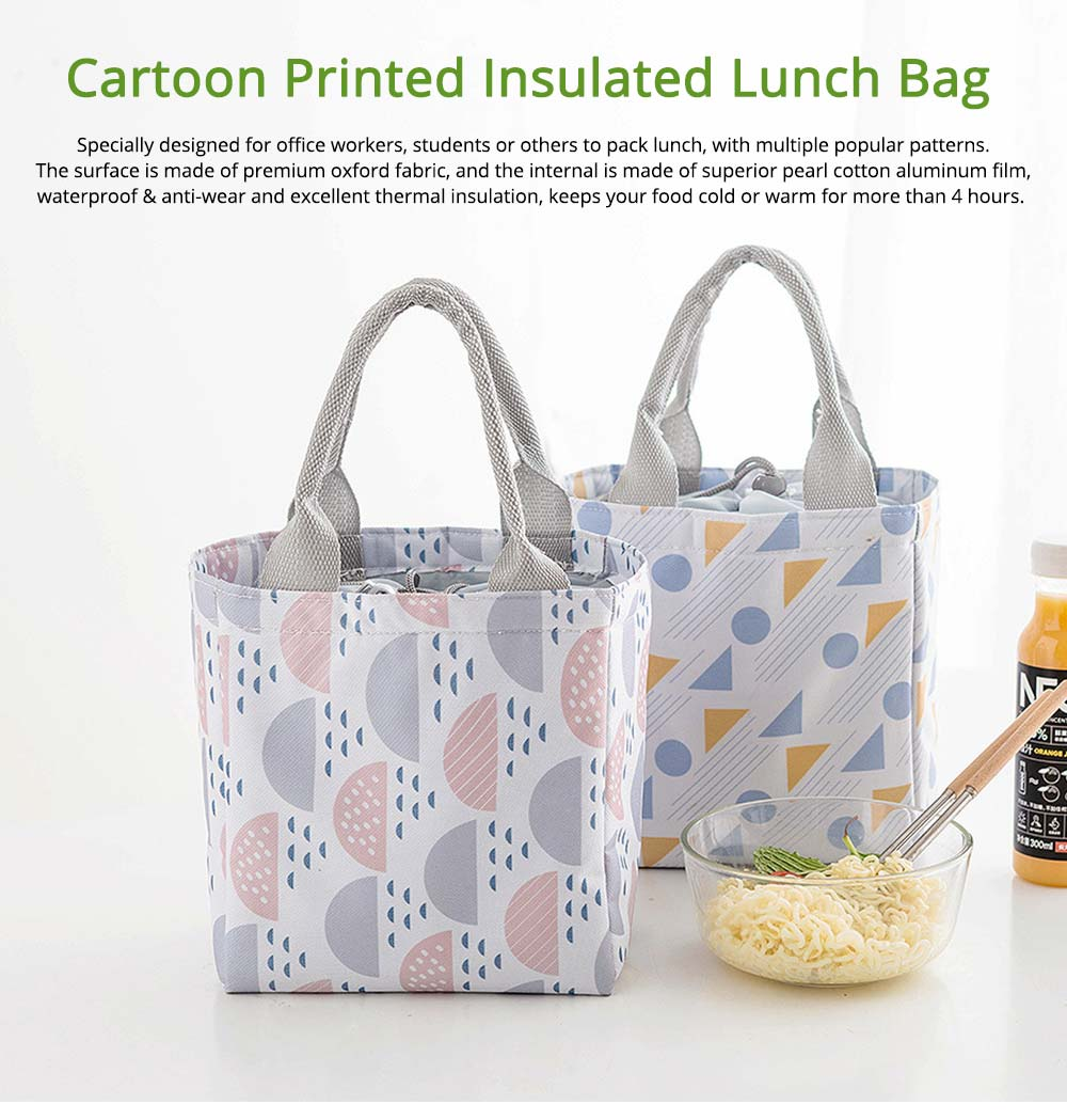 Geometric Printed Insulated Bag with Drawsting Sealing, Portable Cooler Picnic Bag for Packing Fruits, Vegetables, Foods  0