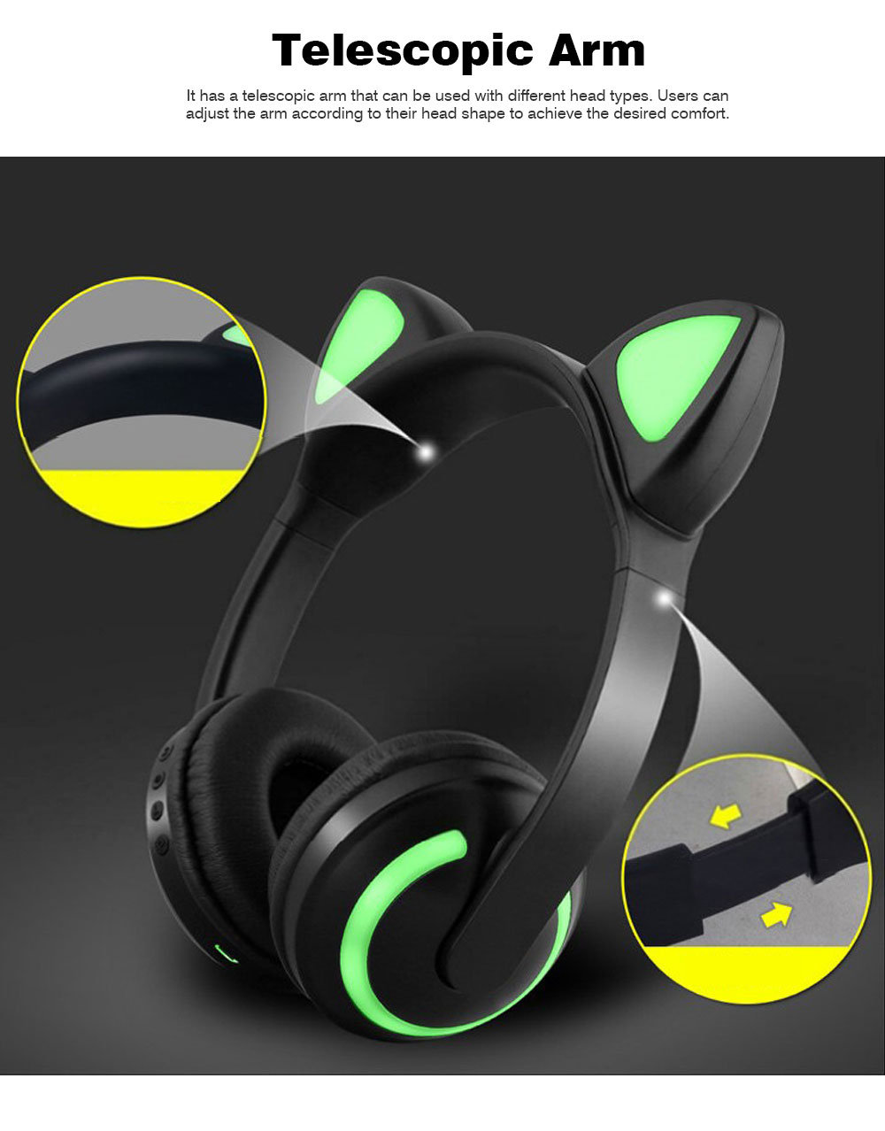 New Cat Ear Bluetooth Headset, Head-mounted Bluetooth Headset for Boys, Wireless Game Headphones 3