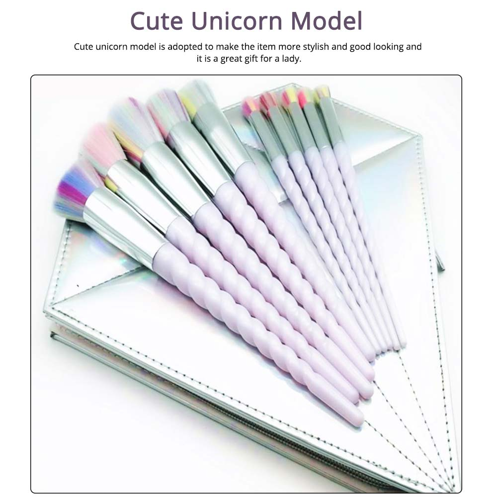 Unicorn Makeup Brushes Set, Pretty Eyeshadow Blending Foundation Powder Blush, 5PCS, 10PCS  4