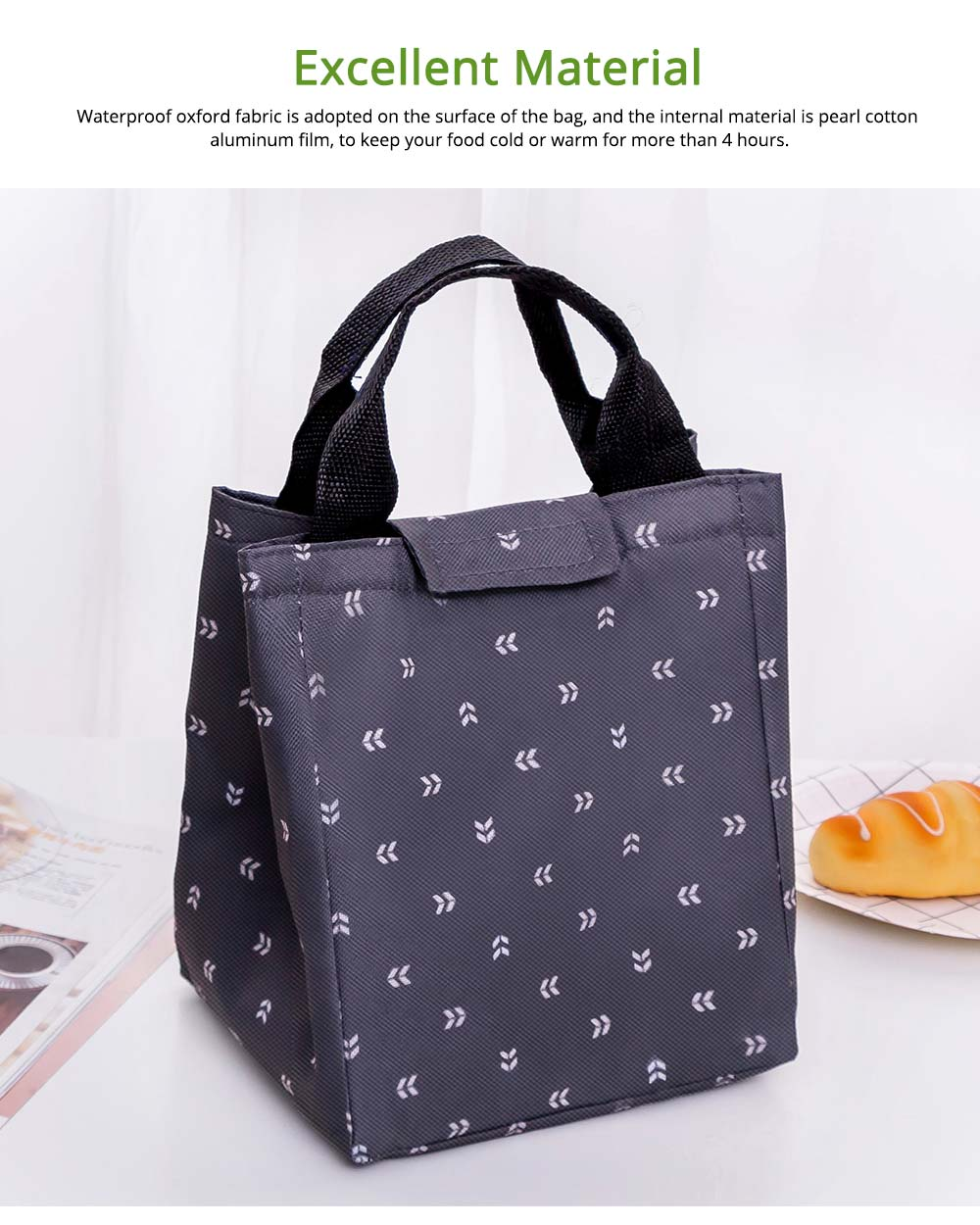 Waterproof Oxford Insulated Bag for Fruits, Foods, Picnic Foods, Reinforced Handle Fresh Cooler Lunch Bag with Smooth Zipper 2