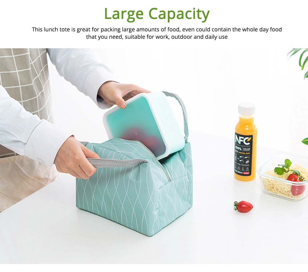 Outdoors Picnic Lunch Bag for Students, Office Workers, Portable Fresh Cooler Bag with Zipper 4