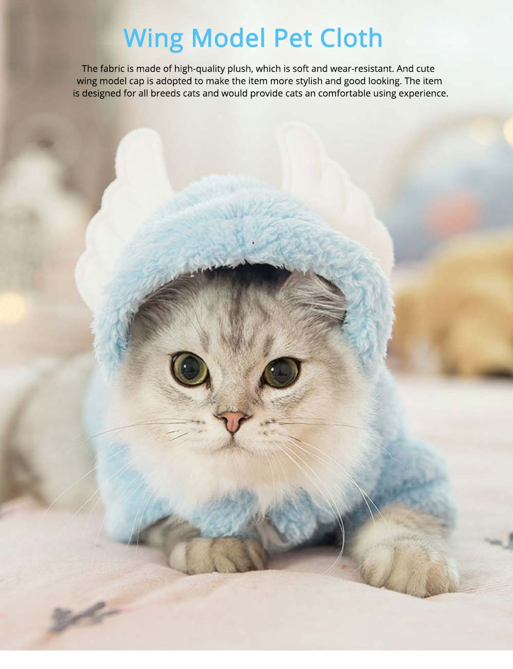Cute Wing Model Plush Cats Two-feet Pet Clothes, Stylish Pet Clothes Costume Apparel with Animal Ears Especially for Cats 0