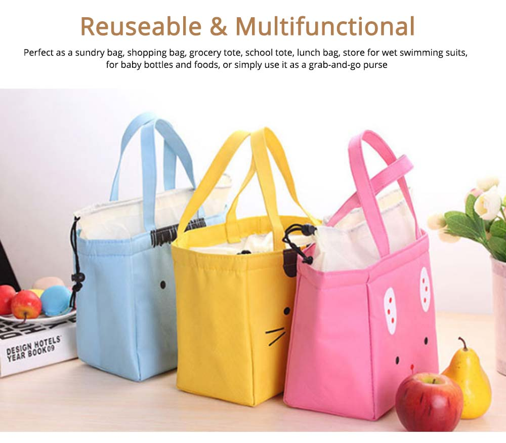 Cartoon Printed Insulated Lunch Bag with Drawsting Sealing, Thermal Insulation Cooler Function Bag for Students Office Workers 6