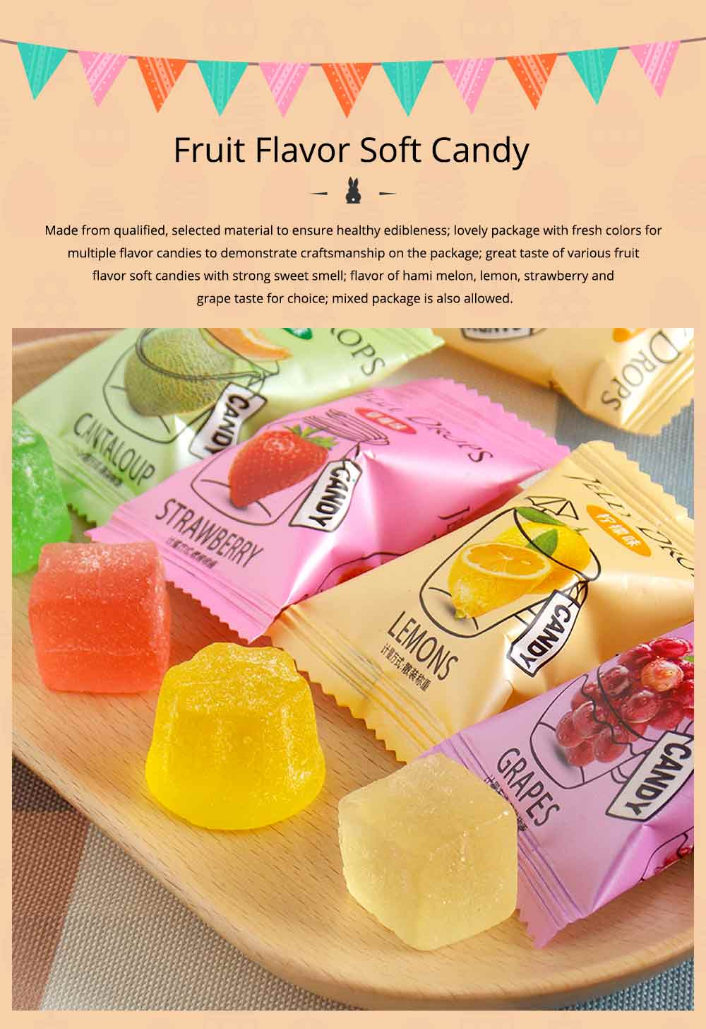 Fruit Flavor Soft Candy for Wedding Snacks, Mixed Package Multiple Flavor Bulk Package Soft Candies 0