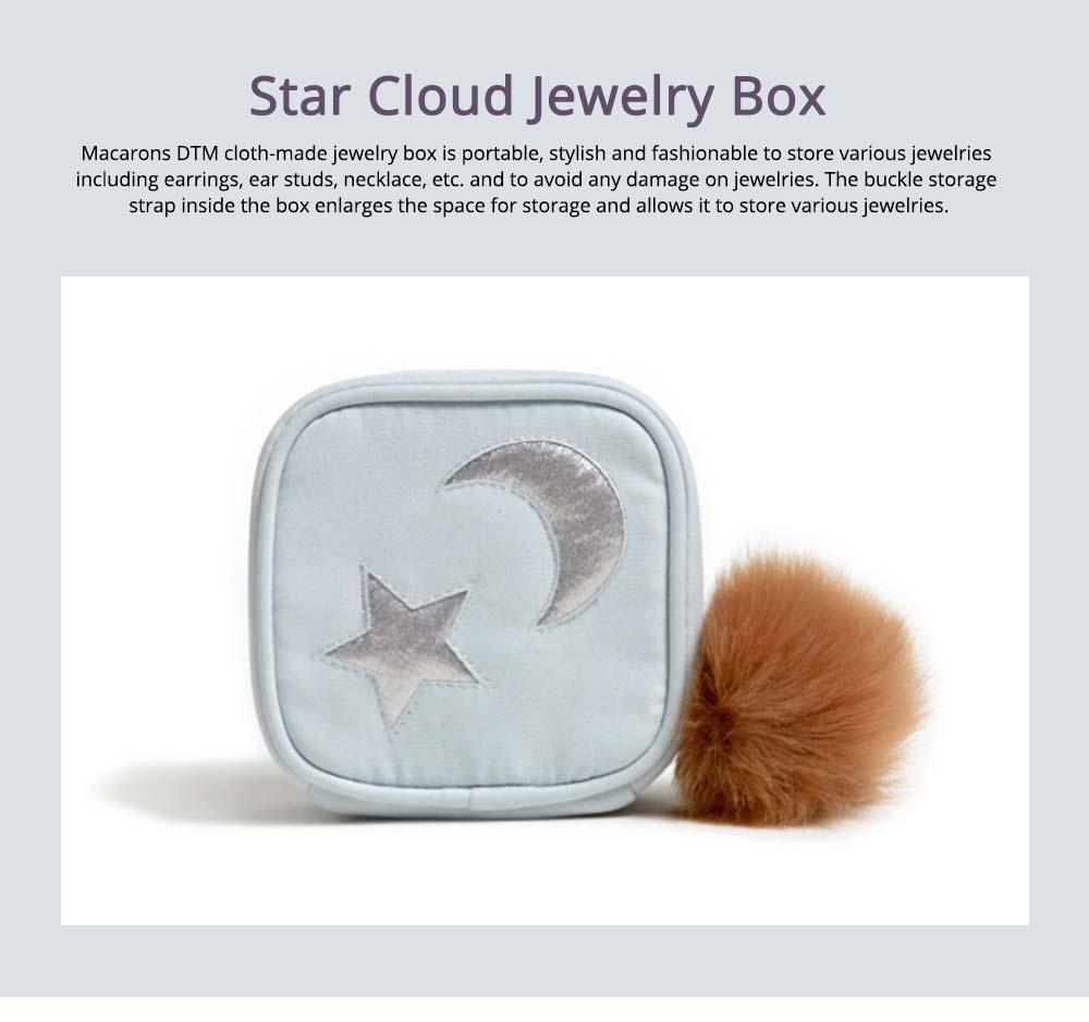 Star Cloud Jewelry Box for Jewelries Storage, Pompon Plus Zipper Style Portable Square Jewelry Storage Box 0