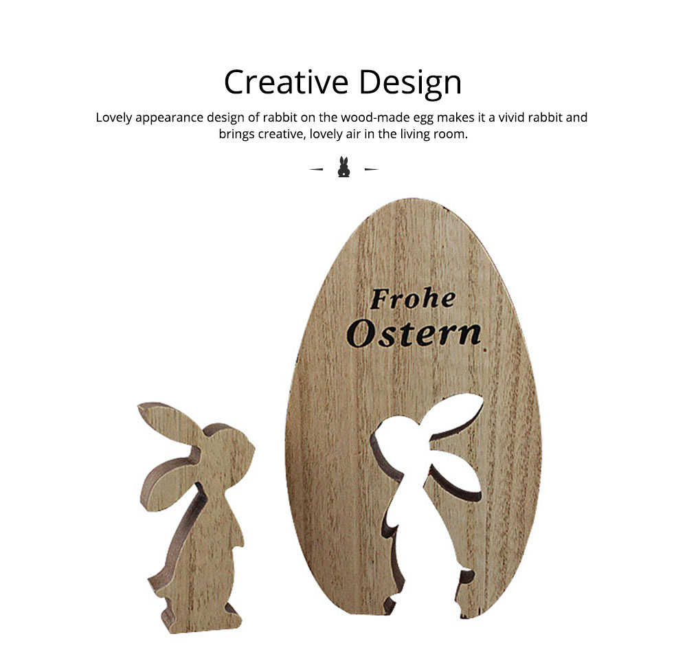 Creative Wood-made Easter Egg Rabbit Art Craft Decoration Accessory Household Ornament, Pastoral Style Egg Rabbit for Living Room Decoration 2