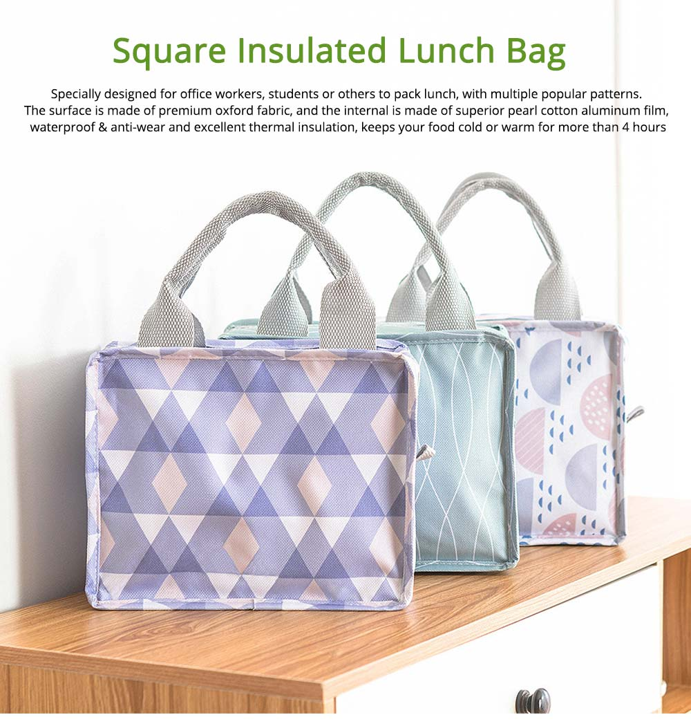 Square Insulated Lunch Bag, School Home Office Essential Waterproof Insulation Bag Cooler Bag with Reinforced Handle, Smooth Zipper 0