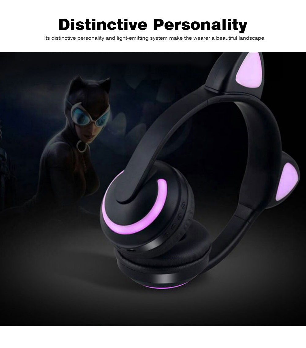 New Cat Ear Bluetooth Headset, Head-mounted Bluetooth Headset for Boys, Wireless Game Headphones 1