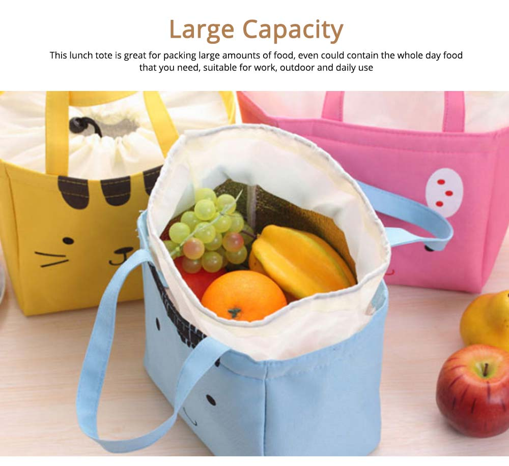 Cartoon Printed Insulated Lunch Bag with Drawsting Sealing, Thermal Insulation Cooler Function Bag for Students Office Workers 4