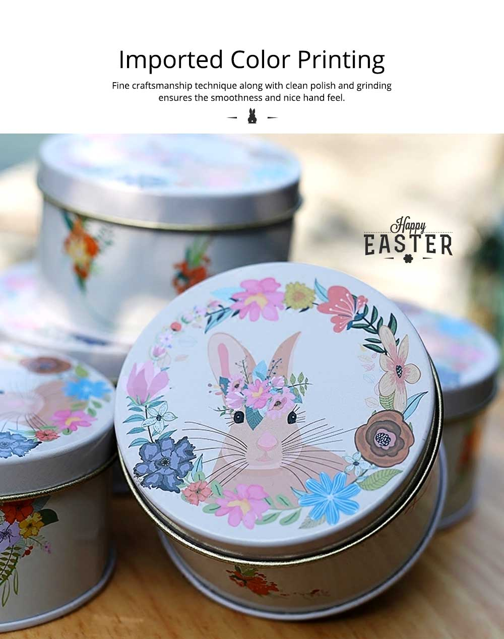 Round Tinplate Candy Box for Weddings, Creative Candy Box of Lovely Rabbit Printings Storage Box Bonbon Box Gift Box 3