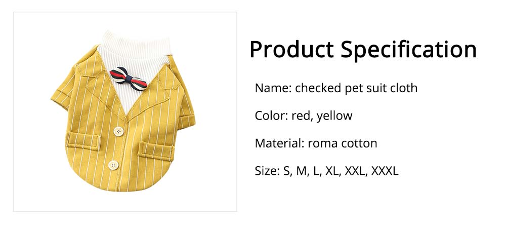 Creative Checked Gentleman Suit Miniature Pet Clothes, Stylish Small Dog Pet Clothes Formal Costume Apparel with Bow Tie 6