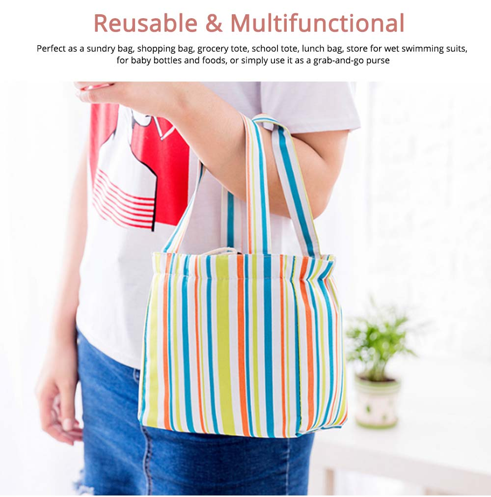 Colorful Lunch Bag with Thermal Insulation for Packing Foods, Fruits, Anti-wear Oxford Thermal Insulation Bag with Reinforced Handle 5