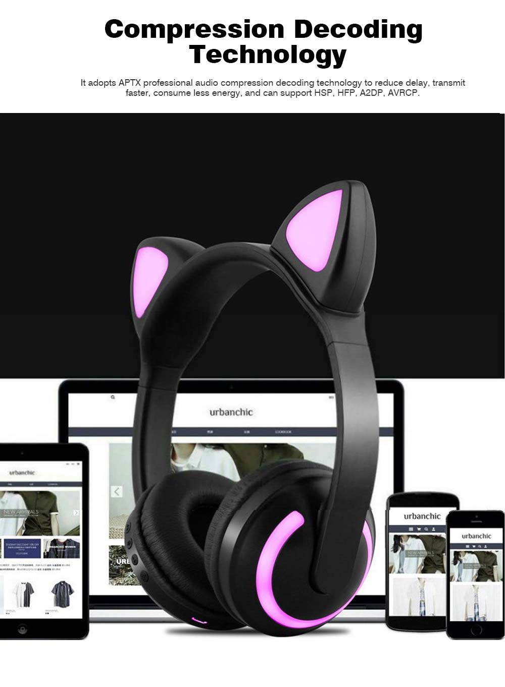 New Cat Ear Bluetooth Headset, Head-mounted Bluetooth Headset for Boys, Wireless Game Headphones 2