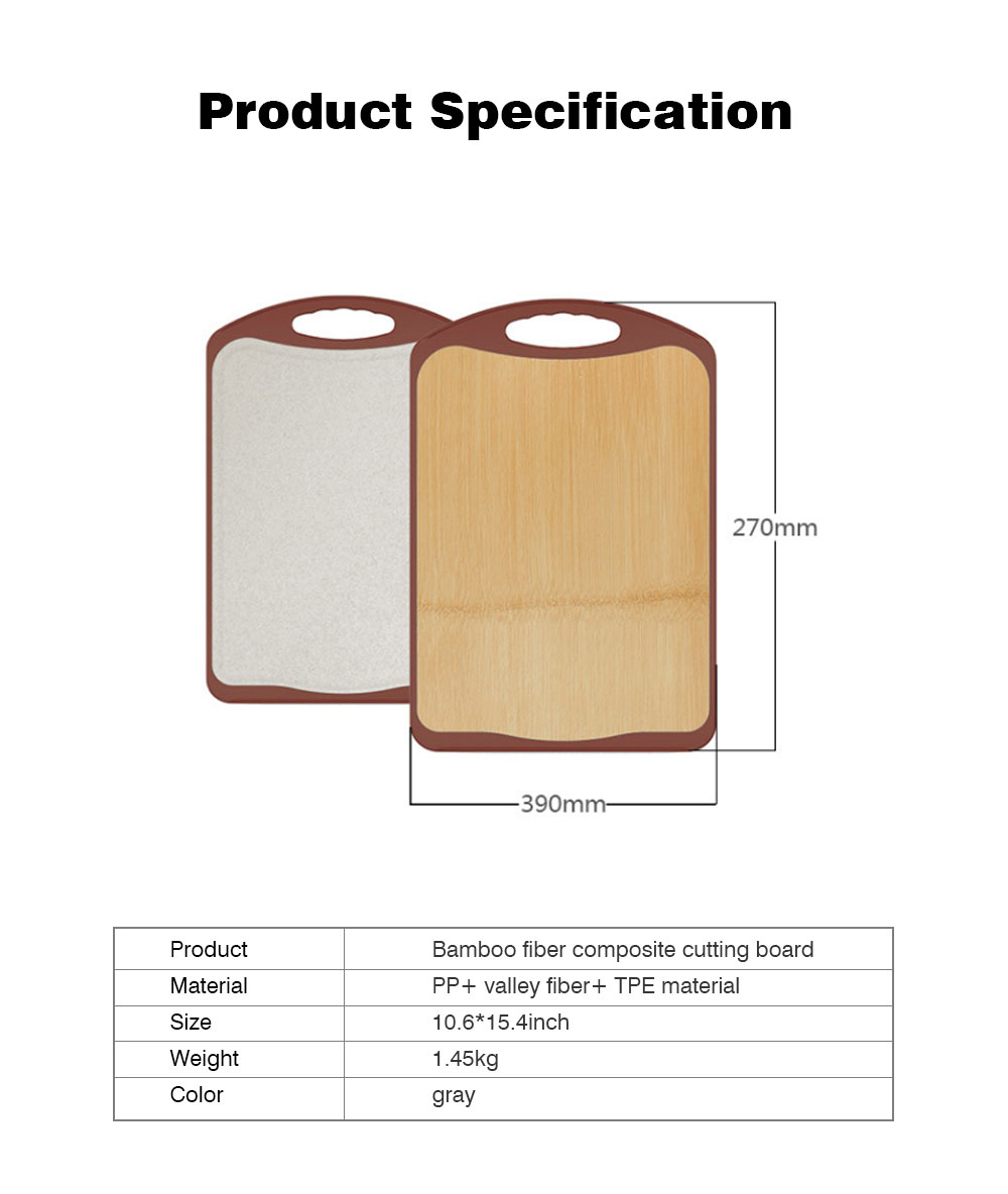 Whole Bamboo Fiber Composite Cutting Board, Healthy Non-slip Cutting Board for Cutting Cooked Food, Vegetables, Fruits 7