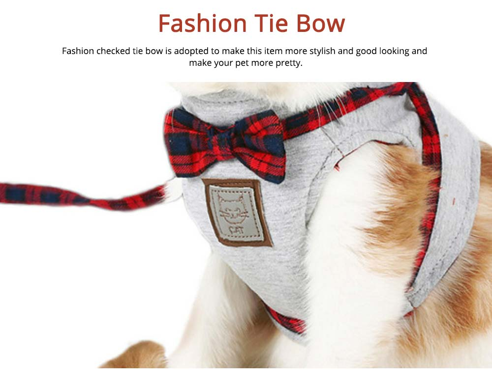 Cotton Cat Walking Traction Rope with Fashion Tie Bow, Hardness Lead Leash Rope with Convenient Magic Tape 6