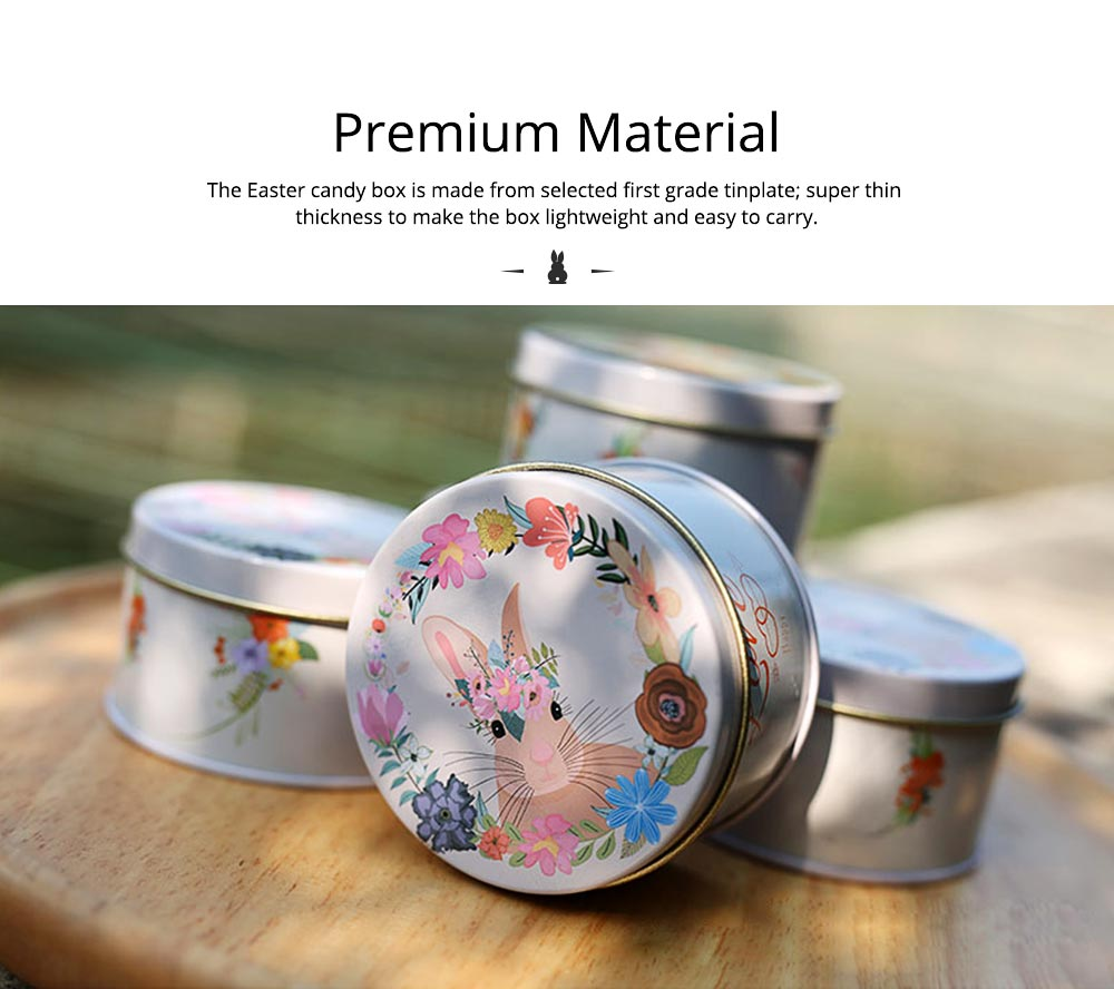 Round Tinplate Candy Box for Weddings, Creative Candy Box of Lovely Rabbit Printings Storage Box Bonbon Box Gift Box 1