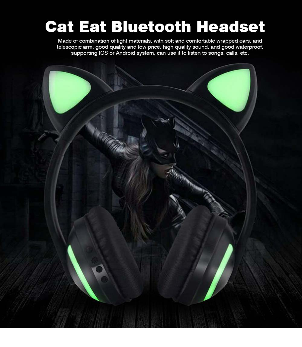 New Cat Ear Bluetooth Headset, Head-mounted Bluetooth Headset for Boys, Wireless Game Headphones 0