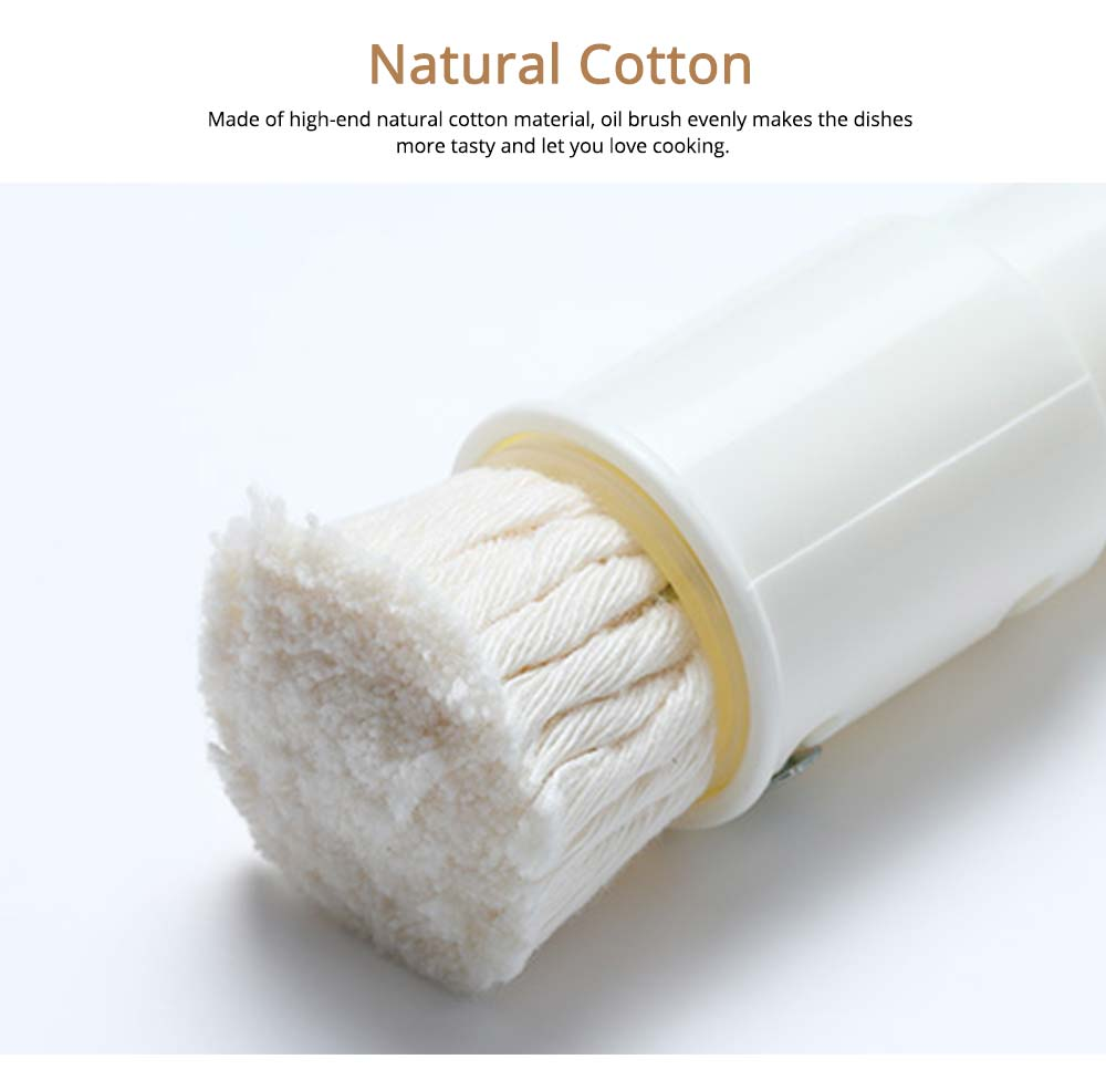 White Natural Cotton Oil Brush with Dust cover and Adjustable Design, Kitchen Tools Soft Sauce Brush 2