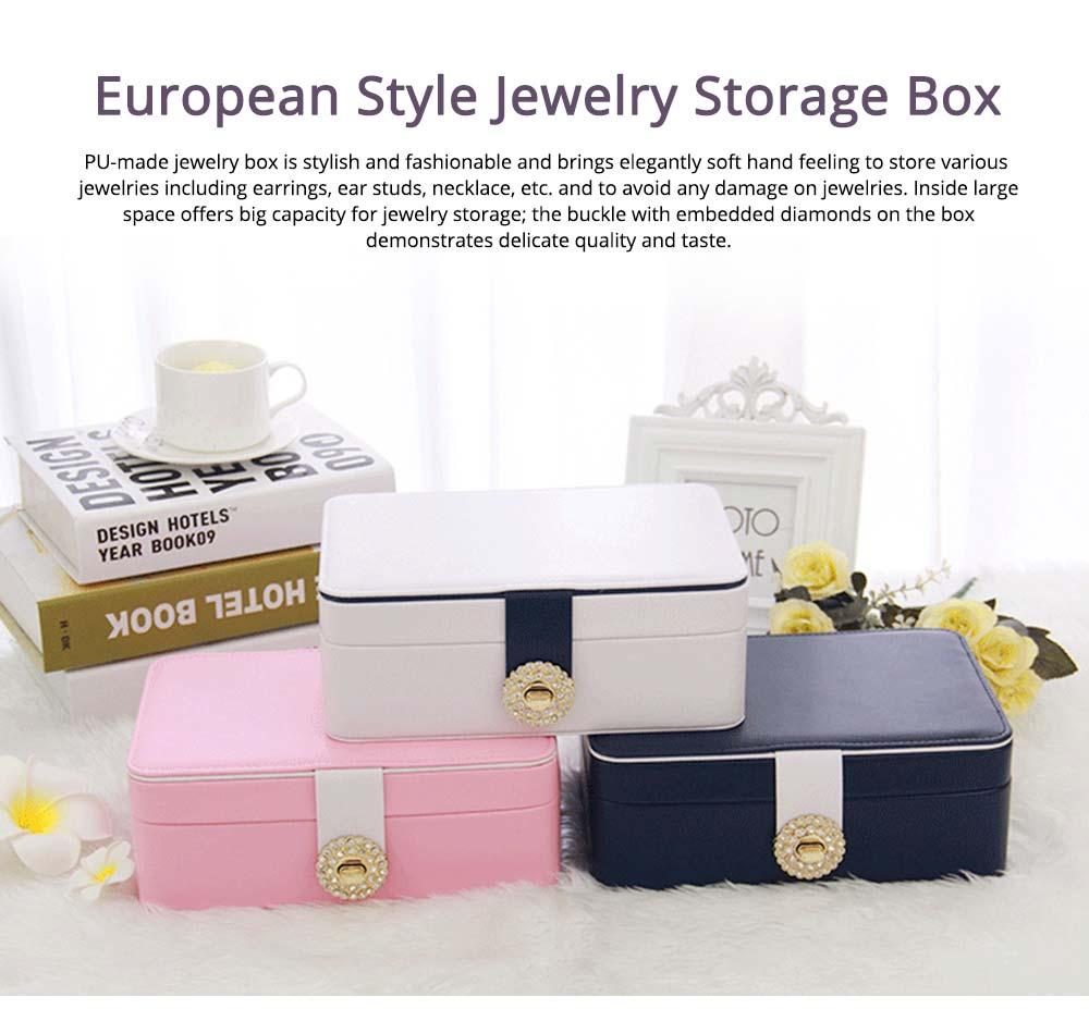 European Style Jewelry Storage Box of Double-layer Design, Simple Jewelry Storage Box for Earrings Ear Studs 0