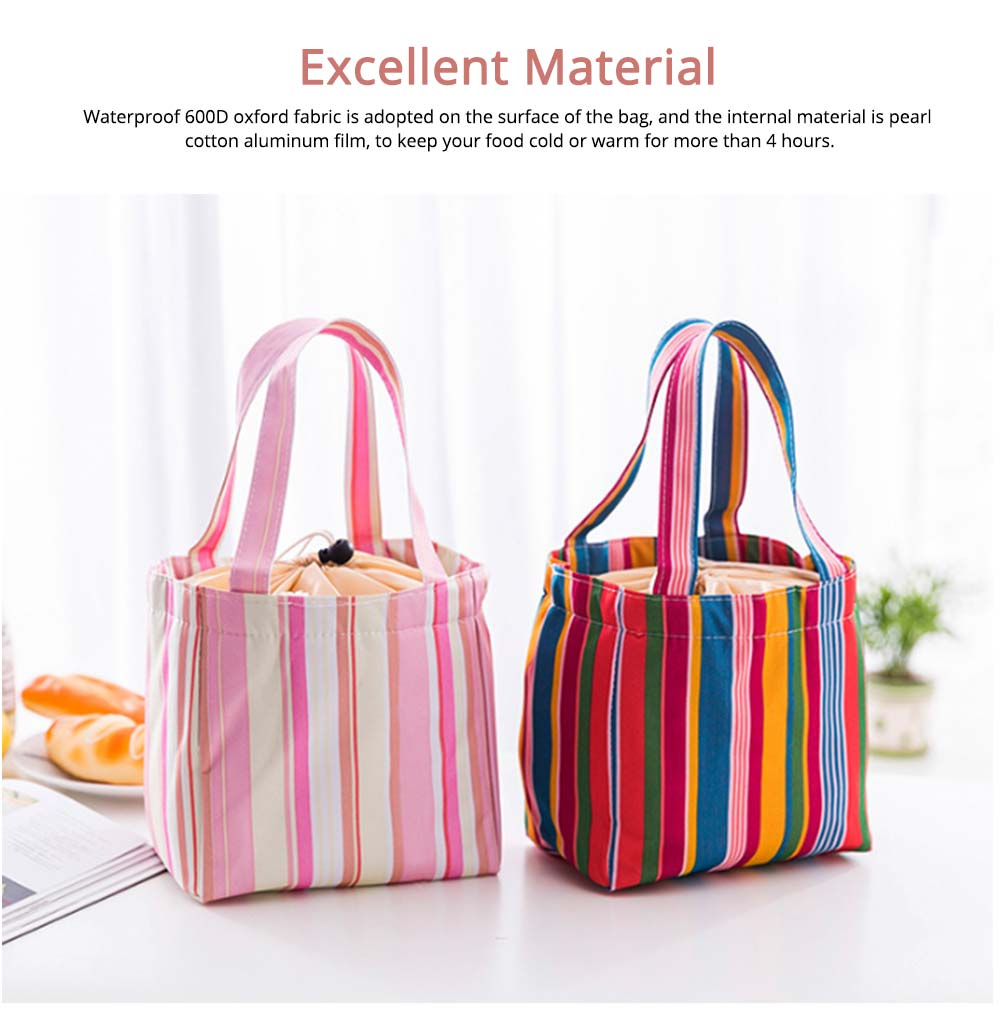 Colorful Lunch Bag with Thermal Insulation for Packing Foods, Fruits, Anti-wear Oxford Thermal Insulation Bag with Reinforced Handle 2