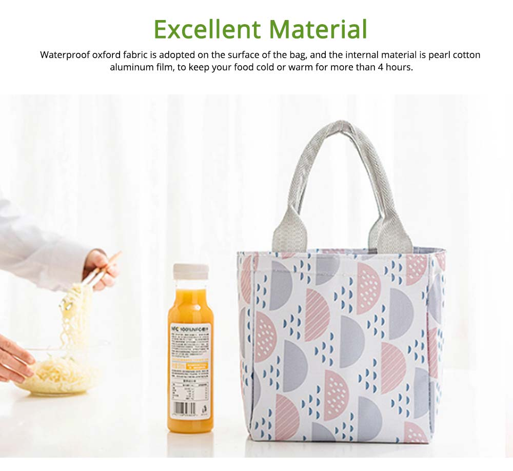 Geometric Printed Insulated Bag with Drawsting Sealing, Portable Cooler Picnic Bag for Packing Fruits, Vegetables, Foods  2