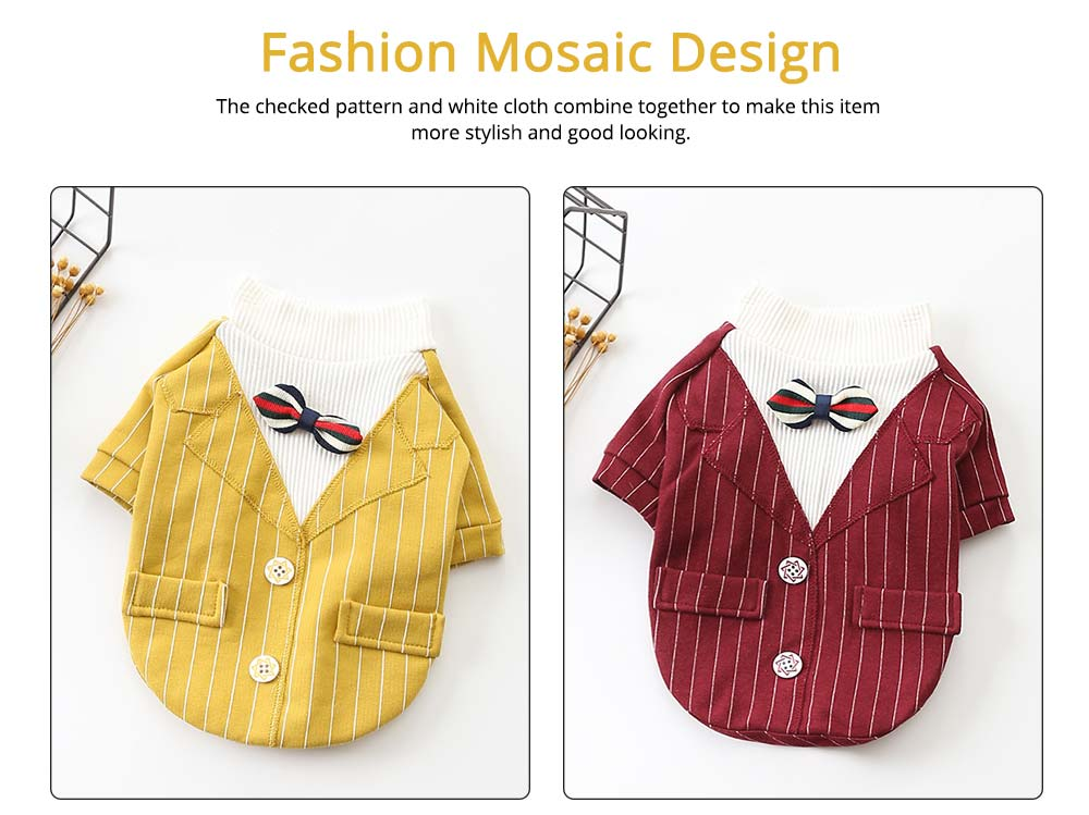 Creative Checked Gentleman Suit Miniature Pet Clothes, Stylish Small Dog Pet Clothes Formal Costume Apparel with Bow Tie 3