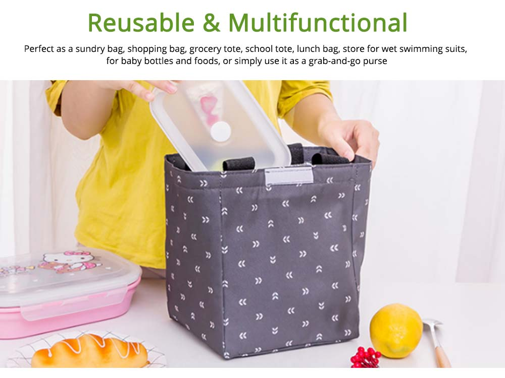 Waterproof Oxford Insulated Bag for Fruits, Foods, Picnic Foods, Reinforced Handle Fresh Cooler Lunch Bag with Smooth Zipper 6
