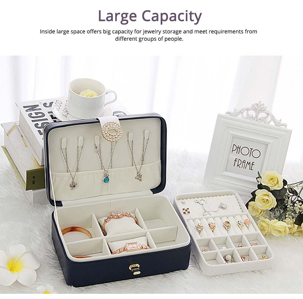 European Style Jewelry Storage Box of Double-layer Design, Simple Jewelry Storage Box for Earrings Ear Studs 5