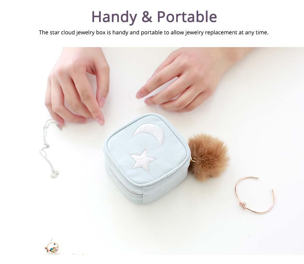 Star Cloud Jewelry Box for Jewelries Storage, Pompon Plus Zipper Style Portable Square Jewelry Storage Box 5