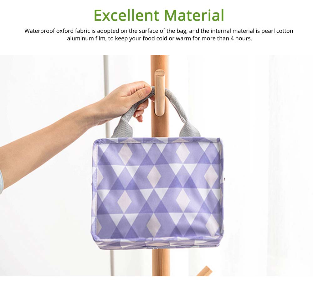 Square Insulated Lunch Bag, School Home Office Essential Waterproof Insulation Bag Cooler Bag with Reinforced Handle, Smooth Zipper 2