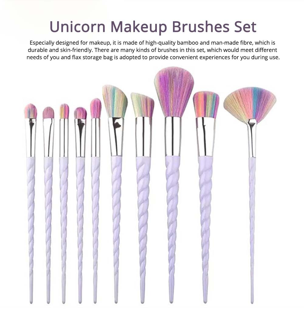 Unicorn Makeup Brushes Set, Pretty Eyeshadow Blending Foundation Powder Blush, 5PCS, 10PCS  0