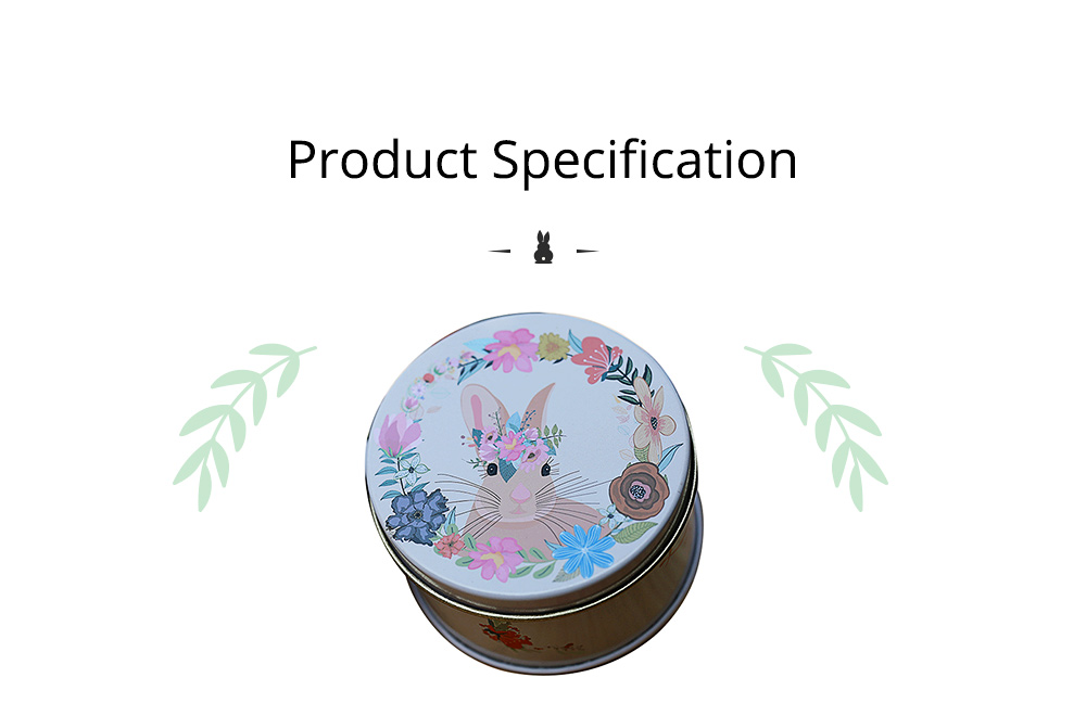 Round Tinplate Candy Box for Weddings, Creative Candy Box of Lovely Rabbit Printings Storage Box Bonbon Box Gift Box 7