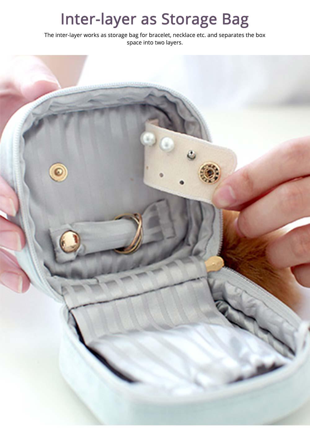 Star Cloud Jewelry Box for Jewelries Storage, Pompon Plus Zipper Style Portable Square Jewelry Storage Box 4