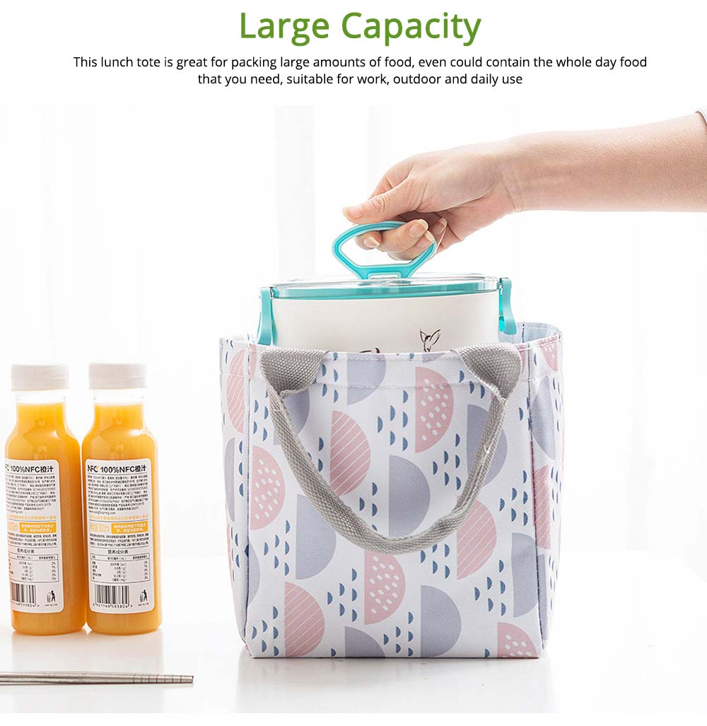 Geometric Printed Insulated Bag with Drawsting Sealing, Portable Cooler Picnic Bag for Packing Fruits, Vegetables, Foods  4