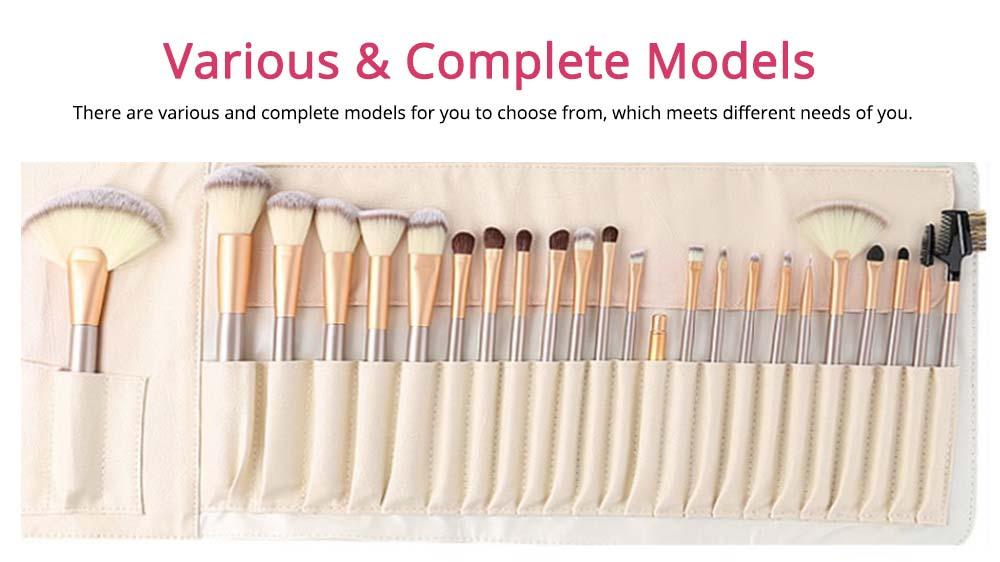 Champagne Makeup Brushes Set, Professional Cosmetic Brushes for Powder Foundation Eyebrow, 12PCS 18PCS 24PSC 4