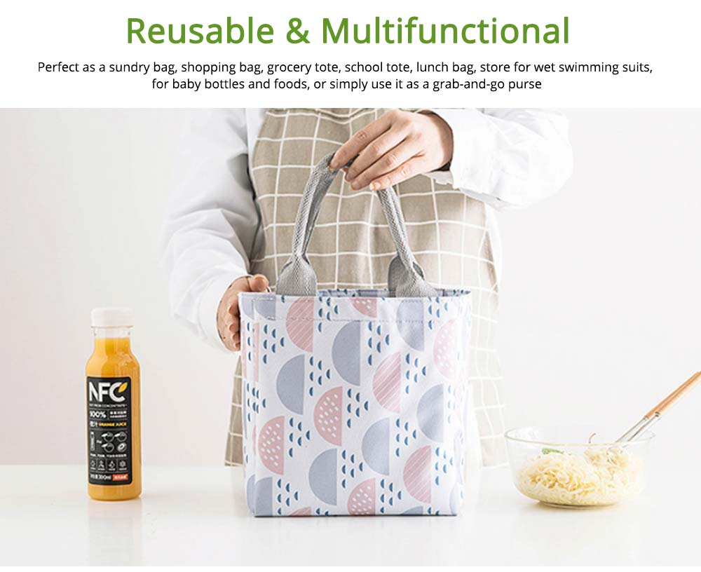 Geometric Printed Insulated Bag with Drawsting Sealing, Portable Cooler Picnic Bag for Packing Fruits, Vegetables, Foods  6