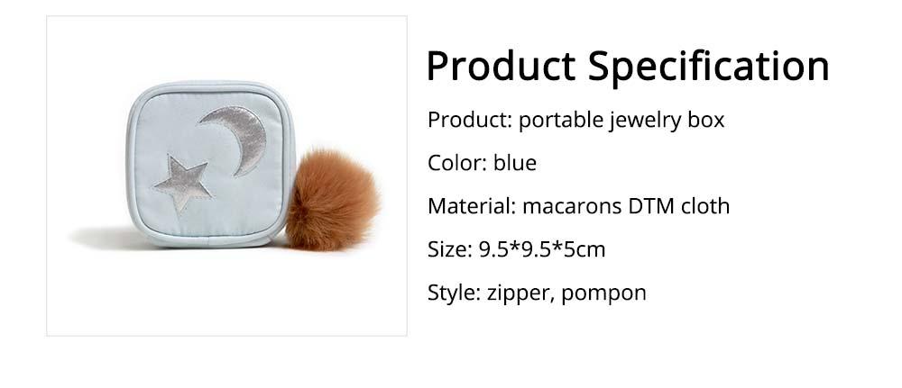 Star Cloud Jewelry Box for Jewelries Storage, Pompon Plus Zipper Style Portable Square Jewelry Storage Box 6