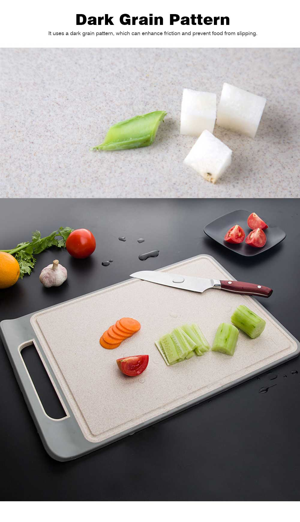 Curved Grain Fiber Chopping Board, Non-slip Cutting Board with L-shaped Handle Design 5