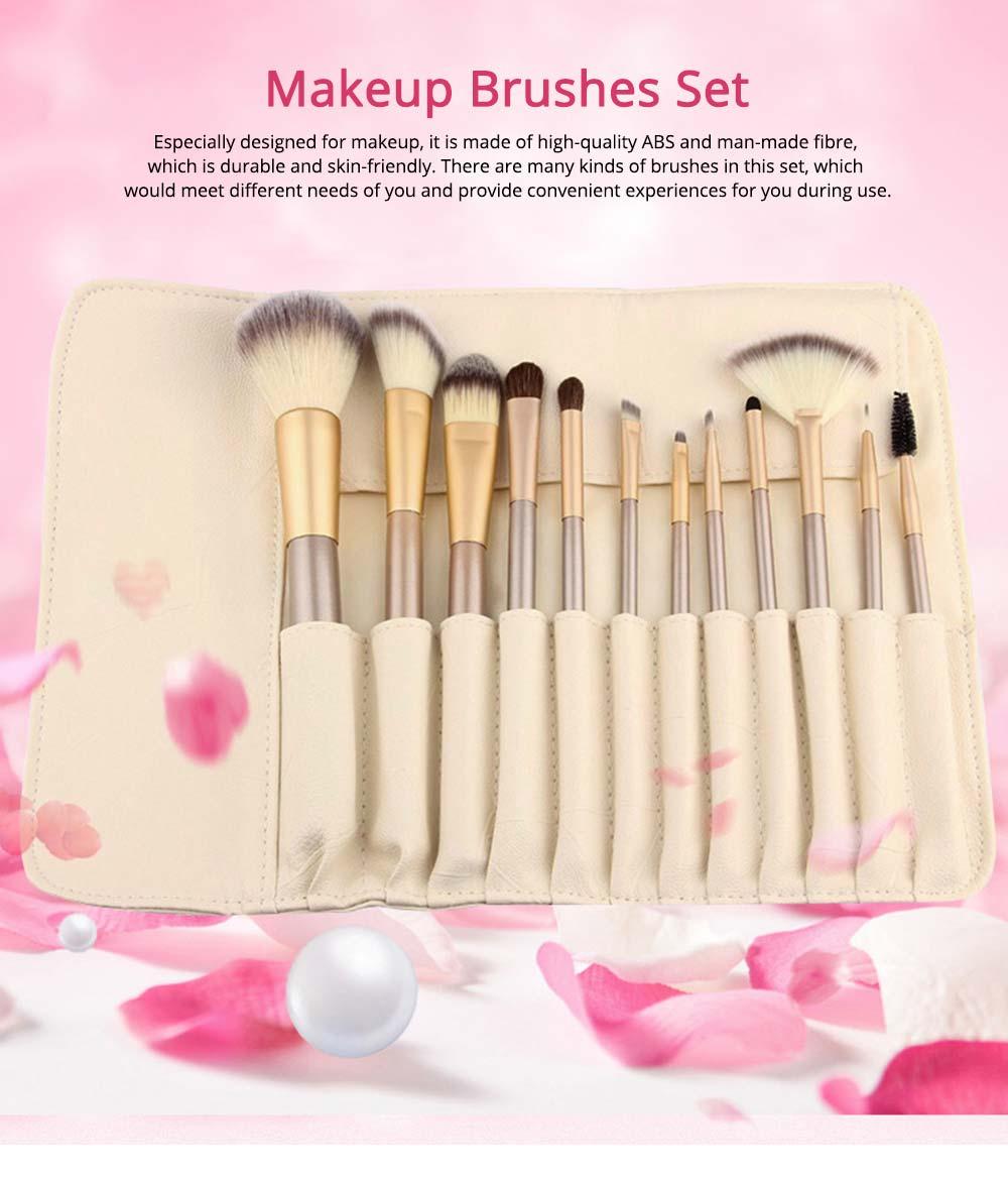 Champagne Makeup Brushes Set, Professional Cosmetic Brushes for Powder Foundation Eyebrow, 12PCS 18PCS 24PSC 0