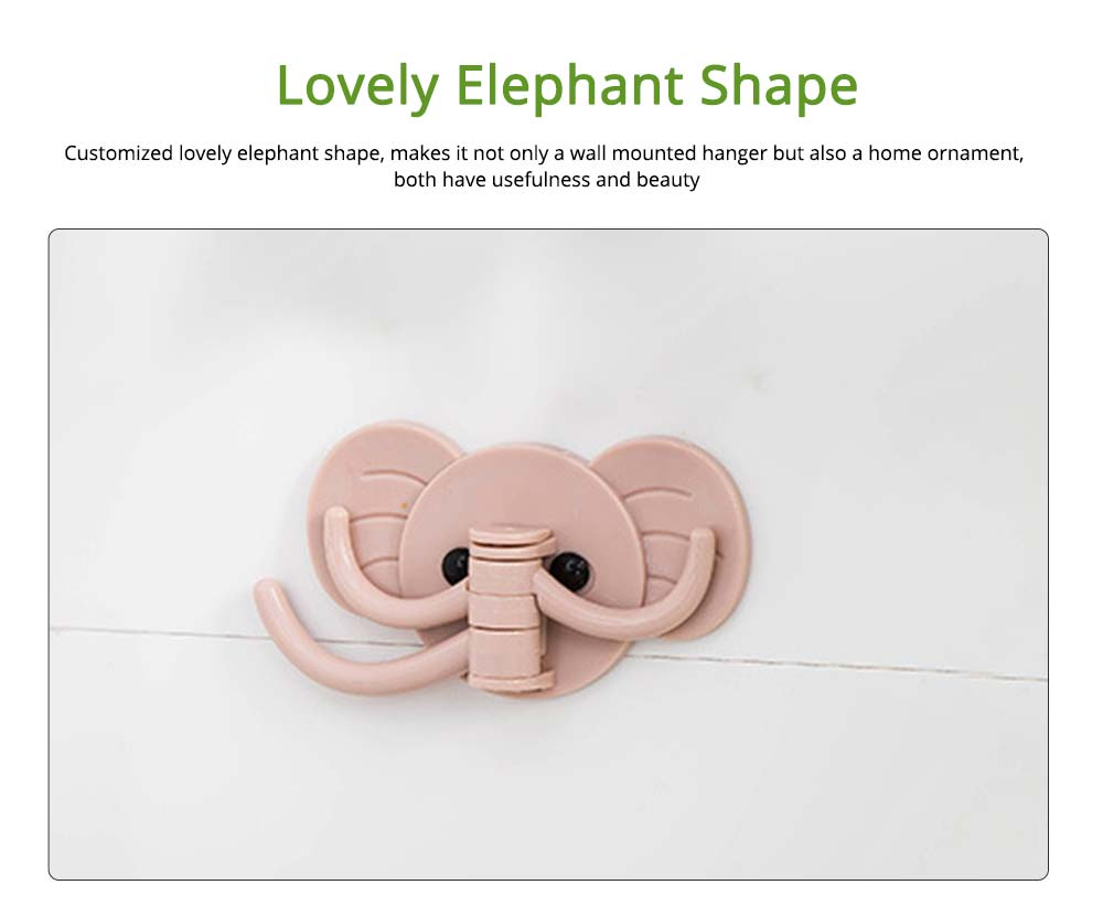 Nail Free Elephant Hanger with Double Sided Adhesive, 3 in 1 Elephant Wall Mounted Hook for Keys, Watch, Bracelet Traceless 5