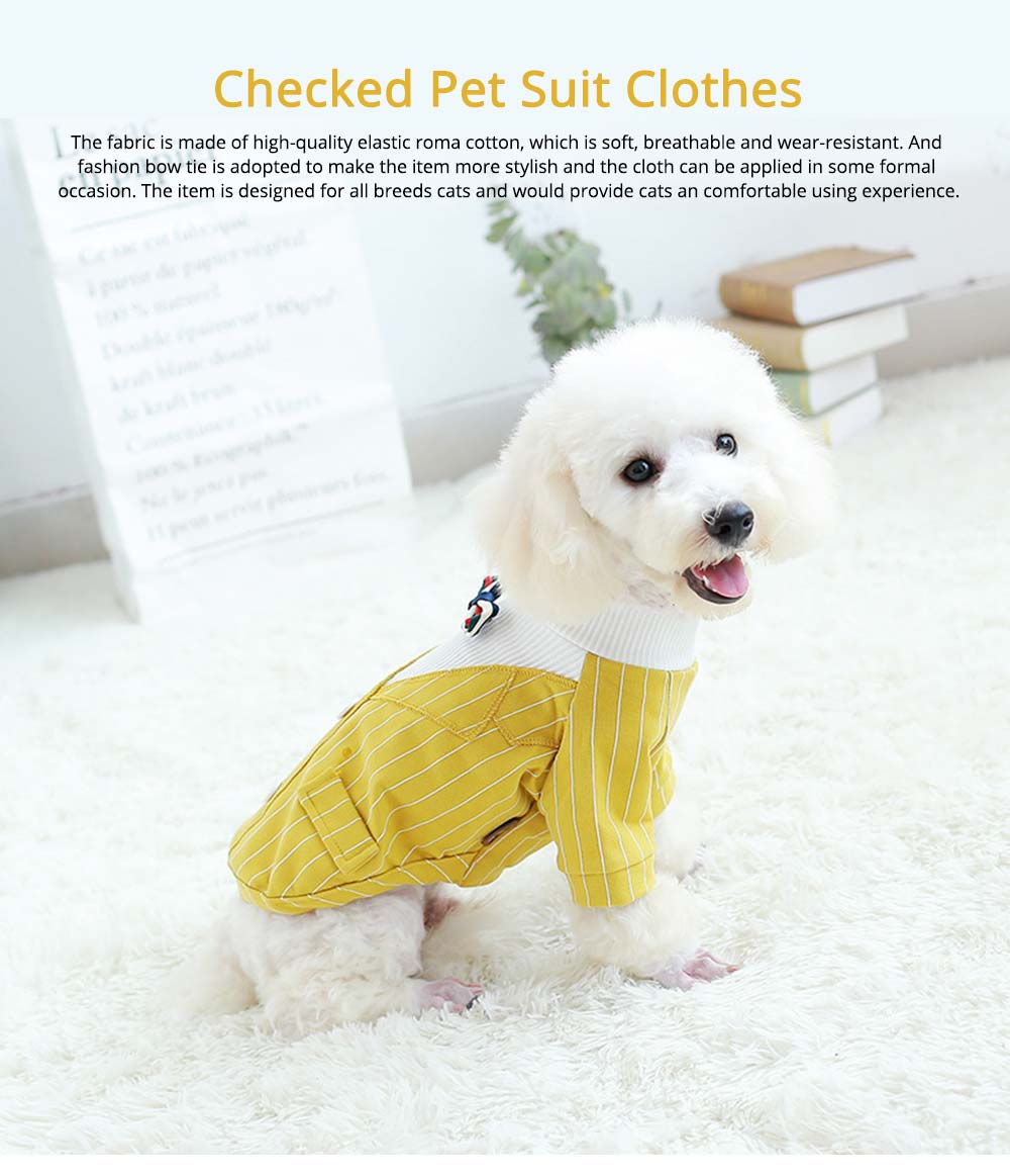 Creative Checked Gentleman Suit Miniature Pet Clothes, Stylish Small Dog Pet Clothes Formal Costume Apparel with Bow Tie 0