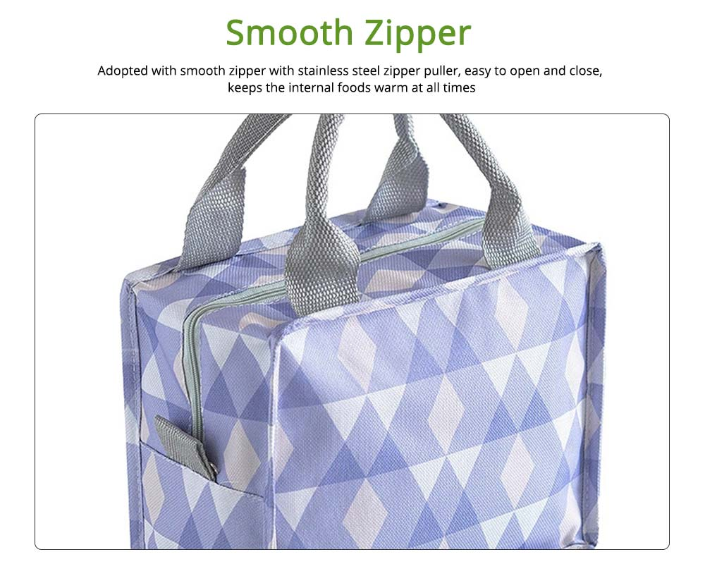 Square Insulated Lunch Bag, School Home Office Essential Waterproof Insulation Bag Cooler Bag with Reinforced Handle, Smooth Zipper 1