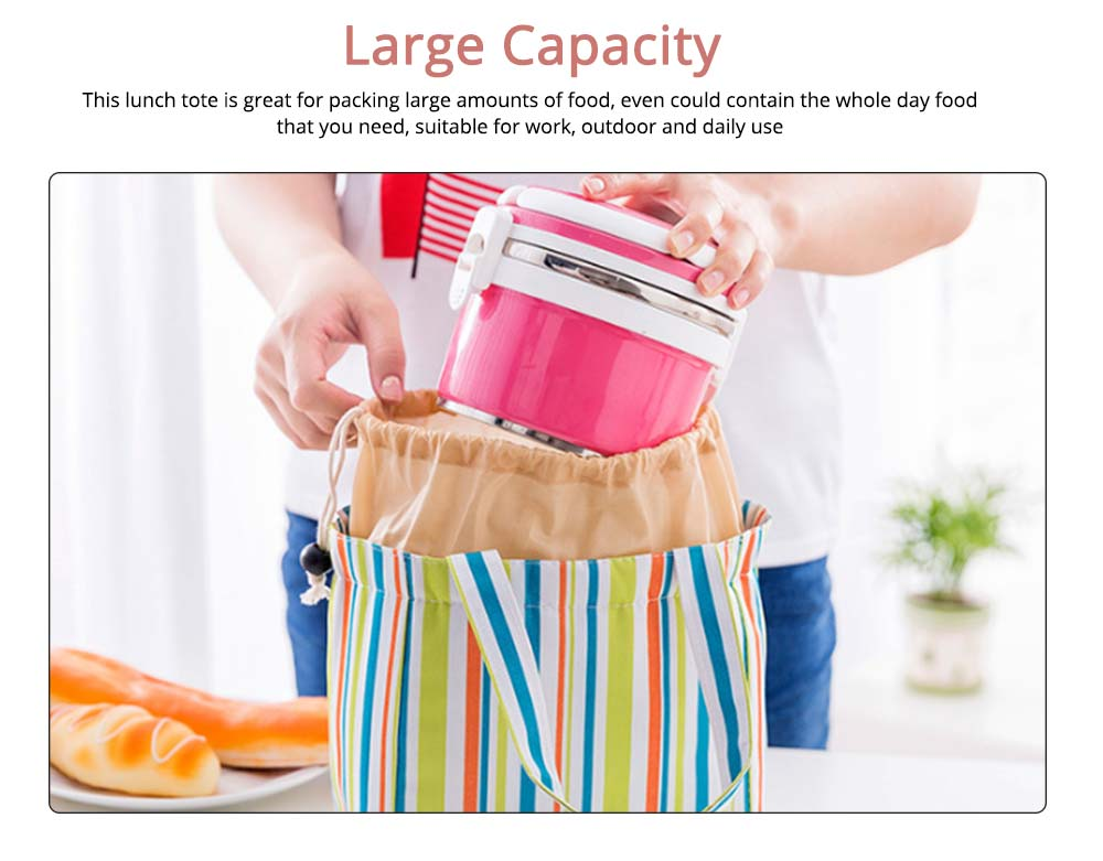 Colorful Lunch Bag with Thermal Insulation for Packing Foods, Fruits, Anti-wear Oxford Thermal Insulation Bag with Reinforced Handle 3