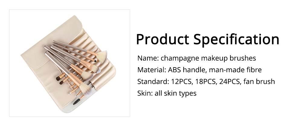 Champagne Makeup Brushes Set, Professional Cosmetic Brushes for Powder Foundation Eyebrow, 12PCS 18PCS 24PSC 5