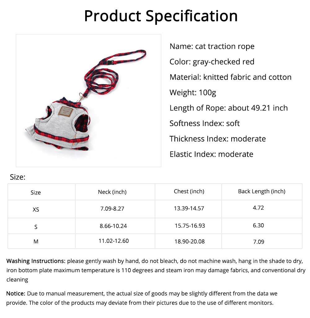 Cotton Cat Walking Traction Rope with Fashion Tie Bow, Hardness Lead Leash Rope with Convenient Magic Tape 7